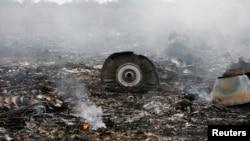 Puing-puing pesawat Malaysia Airlines MH-17 yang jatuh di Grabovo, Donetsk Ukraina timur, Kamis (17/7).