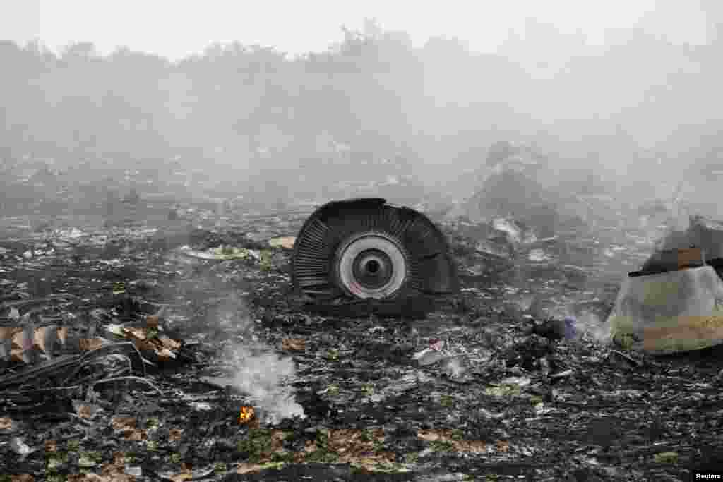 The site of a Malaysia Airlines Boeing 777 plane crash is seen near the settlement of Grabovo in the Donetsk region.