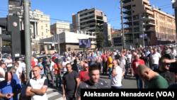 Drugi dan blokade Beograda od strane taksi udruženja, Foto: VOA