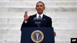 Presiden Barack Obama menyampaikan pidato utama hari Rabu (28/8) dalam peringatan 50 tahun gerakan kebebasan sipil di AS.