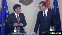 Izvestilac Evropskog parlamenta za Srbiju Dejvid Mekalister tokom susreta sa predsednikom Srbije Aleksandrom Vučićem, u Beogradu, 24. maja 2018.