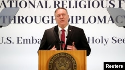U.S. Secretary of State Mike Pompeo at Holy See Symposium on Advancing and Defending Religious Freedom through Diplomacy, in Rome, Italy, September 30, 2020.