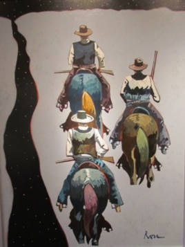 'Along The Pecos,' by Thom Ross, depicts Pat Garrett leading his deputies, John Poe and Kip McKinney, along the Pecos River at night during their pursuit of Billy the Kid.