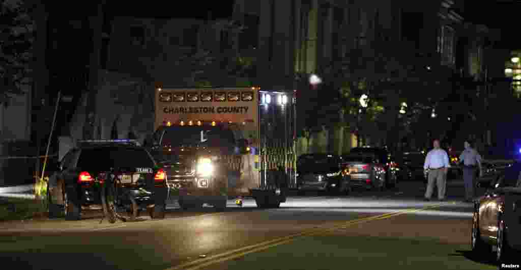 Police respond to a shooting at the Emanuel AME Church in Charleston, South Carolina, June 17, 2015.
