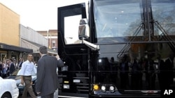 President Barack Obama walks toward his bus after stopping in Boone, N.C., Oct. 17, 2011.