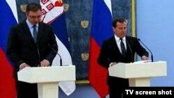 Premijeri Srbije i Rusije, Aleksandar Vučić i Dmitrij Medvedev, na konferenciji za novinare u Moskvi