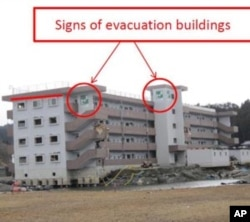 People who ran to the fourth floor of this apartment building in Minamisanriku, Japan survived the tsunami.
