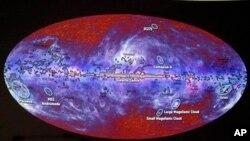 Фрагмент карты микроволнового излучения полученного с помощью космического телескопа «Планк»
