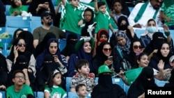 上個月,數以百計婦女得以進入首都利雅得一個以足球賽事為主的體育場,參加沙特阿拉伯國慶日的慶祝活動。