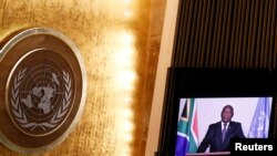 South Africa's President Ramaphosa delivers a pre-recorded statement at a high-level meeting to commemorate the twentieth anniversary of the adoption of the Durban Declaration, as part of the UN General Assembly 76th session General Debate, at UN Headqua