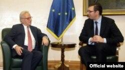 Potpredsednik Vlade Srbije Aleksandar Vučić u razgovoru sa predsednikom Grupe socijalista i demokrata u Evropskom parlamentu Hanesom Svobodom