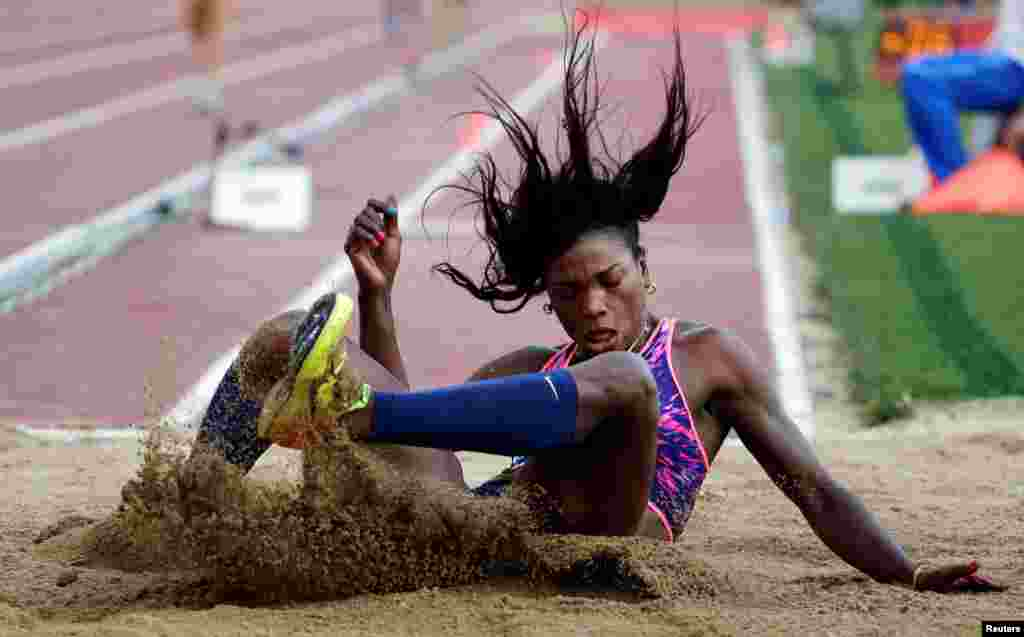 Caterine Ibarguen of Colombia competes in the women's triple jump event during the Rome IAAF Diamond League athletics competition at the Olympic Stadium in Rome, Italy.