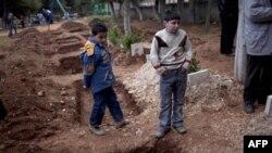 تبديل پارک کودکان ادليب سوريه به گورستان موقت