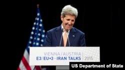 지난 14일 오스트리아 빈에서 이란 핵 합의 사실을 발표하고 있는 존 케리 미 국무장관.