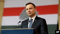 Polish President Andrzej Duda delivers his speech during the official event of the Day of Hungarian-Polish Friendship in the building of Vigado of Budapest, Hungary, March 19, 2016.