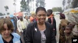 聯合國人道主義事務主任瓦萊麗•阿莫斯8月8日參觀剛果東部戈馬以北的一個難民營