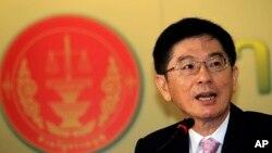 21일 태국 헌법재판소 대변인이 기자회견장에서 지난 2월 2일 시행된 조기 총선거가 무효라고 밝히고 있다.