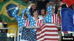 里約奧運會上的美國隊的支持者們
