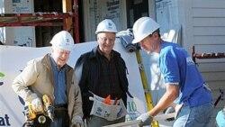 جیمی کارتر، سمت چپ و والتر مندیل وسط