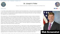 លោក Joseph H. Felter ឧបការីរងរដ្ឋមន្រ្តីក្រសួងការពារជាតិសហរដ្ឋអាមេរិកទទួលបន្ទុកតំបន់អាស៊ីខាងត្បូង និងអាស៊ីអាគ្នេយ៍។ (រូបថតពីគេហទំព័រផ្លូវការក្រសួងការពារប្រទេសអាមេរិក)