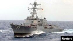 대서양에서 항해 주인 미 해군 유도미사일 구축함 패러것 호. 최근 호르무즈 해협에서 이란 군함이 마샬군도 선적 상선을 나포한 후 인근 해협으로 파견됐다고 미 국방부가 밝혔다. (자료사진)