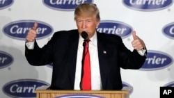 FILE - President-elect Donald Trump speaks at Carrier Corp. in Indianapolis, Dec. 1, 2016.