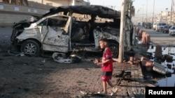 Последствия взрыва в Садр-Сити, Багдад. Ирак, 28 октября 2012 года