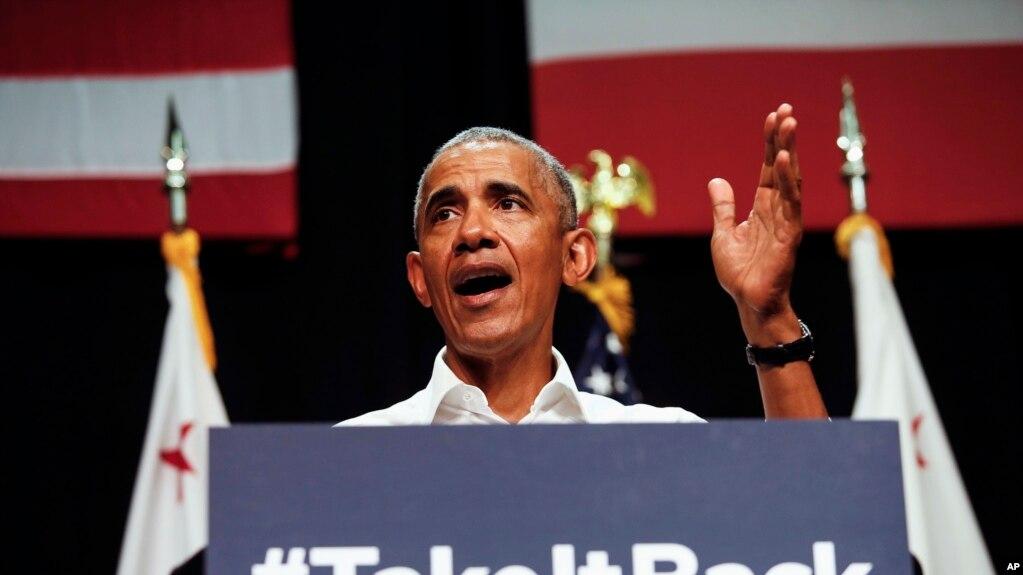 奥巴马在加利福尼亚州的阿纳海姆的竞选大会上发表讲话,支持民主党候选人(2018年9月8日)。