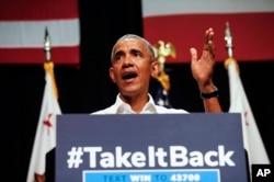 El expresidente Barack Obama habla a votantes demócratas mientras hace campaña en apoyo de los candidatos del Partido al Congreso de California, el sábado 8 de septiembre de 2018 en Anaheim, California (AP Photo / Ringo H.W. Chiu)