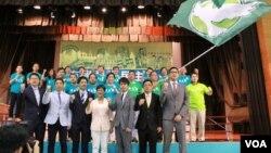 香港民主黨舉行立法會選舉誓師。(美國之音湯惠芸)