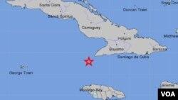 Según informe el Servicio Geológico, el temblor se produjo a unos 122 kilómetros al norte de Montego Bay, Jamaica.