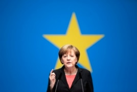 German Chancellor Angela Merkel delivers her keynote speech during the German ruling Christian Democratic Union party's convention ahead of the European Parliament elections in Berlin, April 5, 2014.