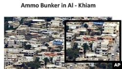 A handout picture released by the Israeli army 7 Jul 2010 shows an aerial photo of the south Lebanon village of al-Khiam, near the Israeli border, showing what it claims is a Hezbollah Shiite militia group bunker