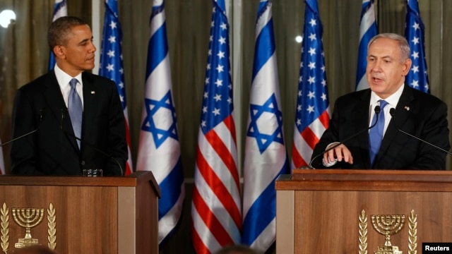President Obama (left) and Israeli PM Netanyahu at news conference in Jerusalem, March 20, 2013