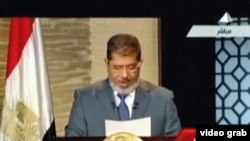 Egypt's President-elect Mohamed Morsi speaking on television.