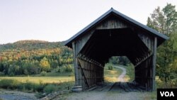 Fall colors accentuate the quaintness of this little Vermont covered bridge. (Carol M. Highsmith)