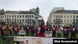 Avropa Parlamentinin önündə aksiya