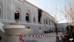 A view of the guesthouse after a bomb blast in Kandahar, Afghanistan, Jan. 11, 2017.