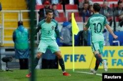Le Portugais Cristiano Ronaldo, lors du match contre la Russie, à la coupe des Confédérations, au stade de Spartak, Moscou, 21 juin 2017.