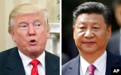 FILE - A combination of two 2016 photos shows Donald Trump, then still president-elect, left, and China's President Xi Jinping. Trump and Xi are due to meet this coming week at Trump's Mar-a-Lago estate in south Florida.