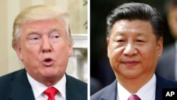 FILE - Then-President-elect Donald Trump, left, and China's President Xi Jinping are shown in this compilation photo.