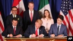 نوامبر ۲۰۱۸ رهبران آمریکا، کانادا و مکزیک پذیرفتند که «توافق آمریکا-مکزیک-کانادا» را جایگزین «قرارداد تجارت آزاد آمریکای شمالی» موسوم به نفتا کنند