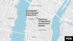 Địa điểm vụ nổ ngày 17 tháng 9 ở khu Chelsea của New York.