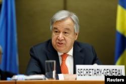 U.N. Secretary-General Antonio Guterres talks during the High-Level Pledging Event for the Humanitarian Crisis in Yemen, in Geneva, Switzerland, April 3, 2018.