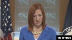 美國國務院發言人莎琪 (美國之音視頻截圖)