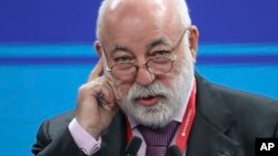 FILE - In this May 25, 2018 photo, Renova CEO businessman Viktor Vekselberg attends the St. Petersburg International Economic Forum in St. Petersburg, Russia. (Alexander Ryumin/TASS News Agency Pool Photo via AP)