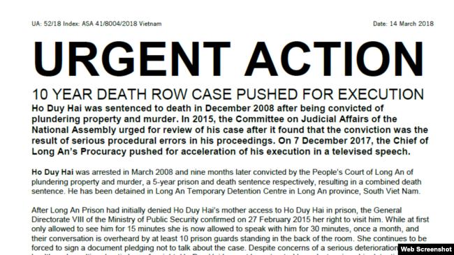 Tổ chức Ân xá Quốc tế ra Hành động Khẩn cấp đối với tử tù Hồ Duy Hải. (Amnesty International)