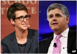 """FILE - This combination photo shows MSNBC television anchor Rachel Maddow, host of """"The Rachel Maddow Show,"""" left, and Sean Hannity of Fox News."""
