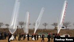 28일 경기도 파주시 낙하IC 인근에서 자유북한운동연합과 국민행동본부 회원들이 대북전단을 날려 보내고 있다.