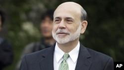 Federal Reserve Chairman Ben Bernanke walks outside of the Jackson Hole Economic Symposium, Aug. 31, 2012, at Grand Teton National Park near Jackson Hole, Wyo.